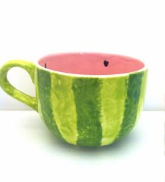 Watermelon Latte Cappuccino Mug Ceramic by ShadyLaneCeramics                                                                                                                                                                                 More