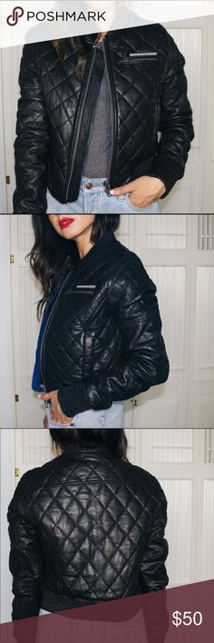 Superdry Quilted Leather Bomber Real leather quilted bomber by Superdry Superdry Jackets & Coats