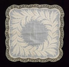 Handkerchief Date: 1850–60 Culture: French Medium: linen Dimensions: 19 1/4 x 19 1/4 in. (48.9 x 48.9 cm) Credit Line: Brooklyn Museum Costume Collection at The Metropolitan Museum of Art,