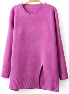 Split Hem Purple Sweater