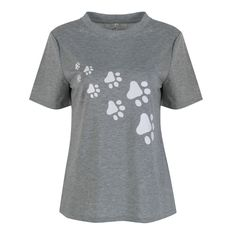 Cute Cotton Cat Paws Print Lovely Women t-shirt Casual Tops For Lady Top Tee Hipster gray black white Drop Ship #Affiliate