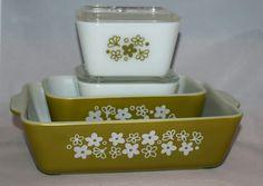 Vintage Glassware-Pyrex-Refrigerator Dish-Spring Blossom Green