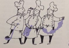 Chefs vintage cookbook illustration