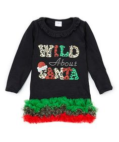Another great find on #zulily! Black 'Wild About Santa' Ruffle Dress - Infant, Toddler & Girls #zulilyfinds