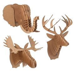 Put together cardboard animal heads