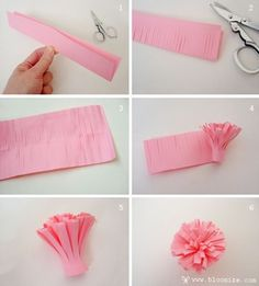 Paper pom pom for gift wrapping Paper Flowers Diy, Diy Paper, Paper Crafts, Diy Crafts, Tissue Paper, Crepe Paper, Pen Toppers, Paper Diamond, Crafts For Kids