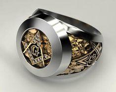Masonic Ring Freemason Symbol G Templar Freemasonry, signet ring, silver gold Cool Rings For Men, Unique Rings, Two Tone Engagement Rings, Masonic Jewelry, Illuminati, Freemasonry, Blue Topaz Ring, Wedding Rings For Women, Signet Ring