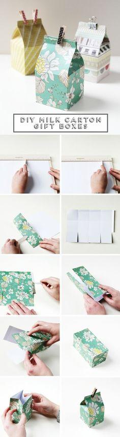 comment faire une boite en papier en forme de boite à lait, tutoriel complète pour fabriquer une boite cadeau soi meme