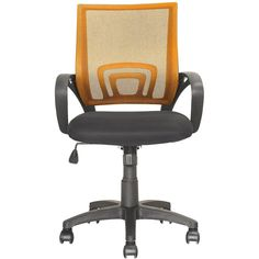 CorLiving - Workspace 5-Pointed Star Mesh Linen Fabric Chair - Black/Orange, LOF-325-O