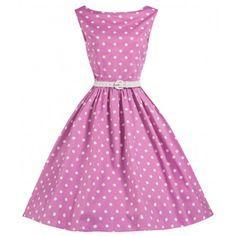 LINDY BOP 'SANDY' CUTESY PINK POLKA DOT 50'S INSPIRED SWING DRESS