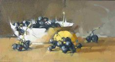 'Grapes and Lemons' (2007) by American painter & sculptor Maggie Siner. Oil on linen, 10 x 9 in. via the artist's site