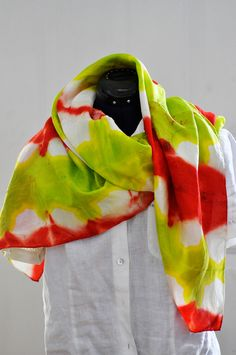 Silk Shibori Scarf - Hand Dyed Silk Scarf - Apple Red and Apple Green - Silk Habotai - Gift for Her by WhatJennyMakes on Etsy Green Silk, White Silk, Dyed Silk, Red Apple, Shibori, Scarfs, Belts, Im Not Perfect, Gifts For Her