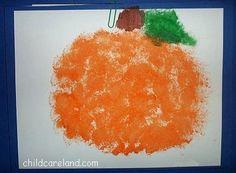 Halloween pumpkin, Sponge blot painting, childcareland blog