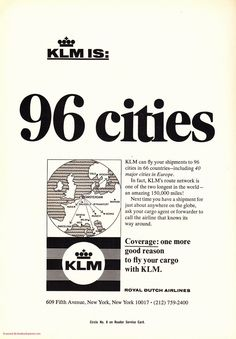 KLM Airlines - 96 Cities