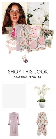 """flamingo"" by la-rosy ❤ liked on Polyvore featuring Bellezza, Damsel in a Dress, Erdem, Sergio Rossi, Pink, Flowers, dress, blush and 2017"