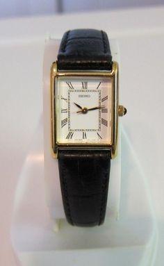 Vintage Ladies Seiko Wrist Watch White Dial Leather Seiko Band 1N01-5G40 japan