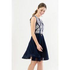 Tile Print Dress with Chiffon Skirt
