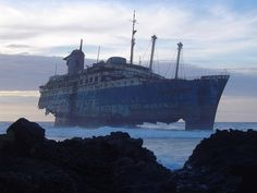 fuerteventura or Lanzarote. (ship wreck is almost gone?)