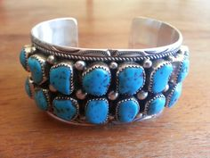 Navajo Indian Sterling Silver Turquoise Cuff Bracelet Signed MT w 16 stones 54gr Bought with a large lot for $75 sold $175 Total now $14,521