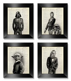 Star Wars Poster Set of 4 Prints Set, Anniversary Gift for Man Birthday Gift Husband Gift, Black White Art Deco Poster, Movie Theater Decor by MEOWconcept on Etsy https://www.etsy.com/listing/229339615/star-wars-poster-set-of-4-prints-set