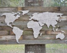 Custom Nail and String Art World Map on Reclaimed Wood