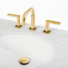 Built to order in Brooklyn, this modern faucet setup comes in your choice of finishes and includes a soft-touch drain. Best Bathroom Faucets, White Vanity Bathroom, Bathroom Hardware, Bathroom Fixtures, Plumbing Fixtures, Sink Faucets, Double Bath, Plumbing Installation, Bathroom Installation