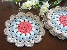 Coaster Crochet Coasters Placemat Table linens Kitchen Decor