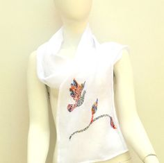 White Linen Spring Summer Scarf Dove Peace by juliaheartfelt