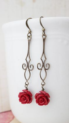 Earrings Blood Red Rose and brass Dangle by VerdigrisGifts on Etsy