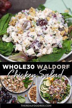 Chicken Salad Recipes, Healthy Salad Recipes, Whole Food Recipes, Diet Recipes, Healthy Meals, Snack Recipes, Whole30 Chicken Salad, Grilled Chicken, Waldorf Salad Recipe Healthy