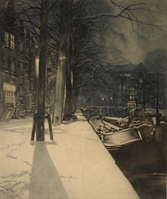 Everbag, Frans (1877-1947), Prinsengracht at the Reguliersgracht in the snow, Amsterdam, etching
