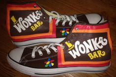 Wonka Bar Hand Painted High Top Converse by CandysCustomPaints, $110.00
