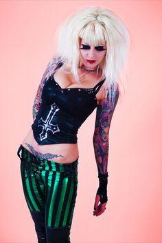 Woooah, LOVE Metal Threads !! Inverted Cross black hologram spandex womens strapless top. $99.00, via Etsy.