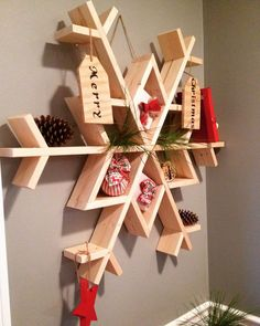 let it snow my diy wooden snowflake shelf christmas decorations diy seasonal holiday decor shelving ideas woodworking projects Christmas Wood, Christmas Projects, Holiday Crafts, Xmas, Outdoor Christmas, Summer Crafts, Christmas Ideas, Christmas Gifts, Wooden Crafts