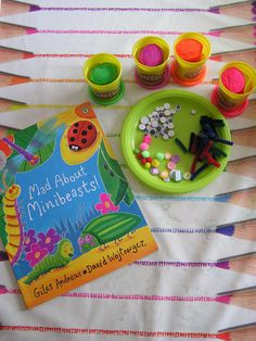 Bring the book Mad about Minibeasts by Giles Andreae and David Wojtowycz alive for kids with this fun invitation to play with play dough. Playdough Activities, Preschool Activities, Activities For Kids, Minibeasts Eyfs, Finger Gym, Continuous Provision, Funky Fingers, Tuff Tray, Messy Play