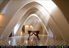 Whalebone shaped arches in the attic of Casa Batlló by architect Antoni Gaudi in Barcelona.