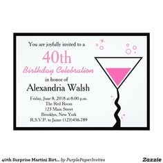 """40th Surprise Martini Birthday Invitation 5"""" X 7"""" Invitation Card"""
