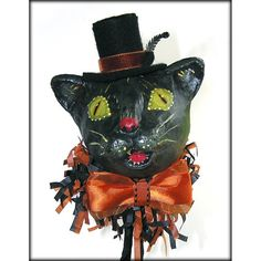 Halloween Black Cat with Top Hat Paper Mache by ivascreations, $49.95