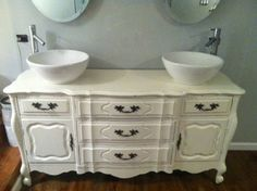 EXACTLY what I am going to do to upstairs master bath when I find the right sideboard! How lovely is this??