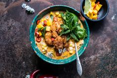 TThai Chile Corn Chowder with Coconut Fried Shrimp | halfbakedharvest.com @hbharvest
