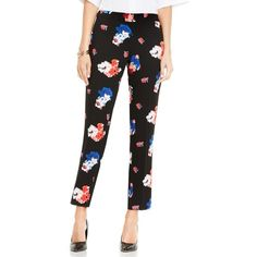 Women's Vince Camuto Traveling Blooms Ankle Pants (1.323.430 IDR) ❤ liked on Polyvore featuring pants, capris, rich black, floral print pants, vince camuto, ankle length jeans, floral trousers and tailored pants