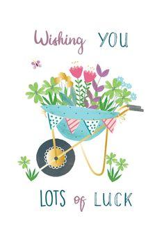 Garden Cart full of flowers - Good Luck Card #greetingcards #printable #diy #goodluck Printable Cards, Free Printables, Good Luck Cards, Garden Cart, Thoughts And Feelings, Diy Cards, Card Templates, Create Yourself, Congratulations