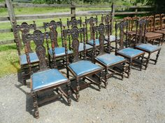 Beautifully crafted set of high back Jacobean styled oak dining chairs with opulently relief carved oak leaf grape swag and barley twu2026 & Beautifully crafted set of high back Jacobean styled oak dining ...