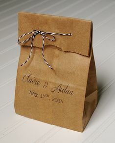 Personalized Wedding Favor Bags- Rustic Paper Bags