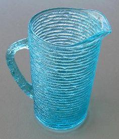 Anchor Hocking, Aquamarine Soreno Glass Pitcher   Old Luxe