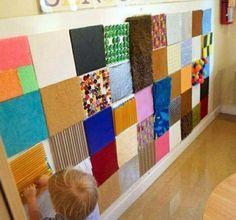 Sensory Wall shared by The EYLF Page . An inspiring idea for show and tell ~ send home a piece of cardstock.and on each childs' presentation day, voila! An artifact to add to the wall, and a discussion/ jumping off point.-I like the sensory wall. Sensory Wall, Sensory Rooms, Sensory Boards, Sensory Bins, Sensory Bottles, Multi Sensory, Sensory Board For Babies, Sensory Room Autism, Diy Sensory Toys