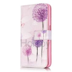 Embossed Dual Layer 9 Card Slots Wallet Style Magnetic Flip TPU+ PU Leather Case for iPhone 6 6S - Dandelion