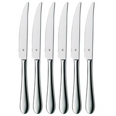 WMF Set of 6 Signum Stainless Steel Steak Knives by WMF. $50.97. Set of 6 elegant steak knives; Mix and match with your existing flatware; High quality 18/10 cromargan stainless steel construction; High gloss finish adds luster and beauty; Serrated edges for maximum performance; well-balanced handle for slicing comfort. On a brisk evening with the BBQ, or anytime steak is on the menu, pull out these Signum steak knives from WMF. These beautiful steak knives featur...