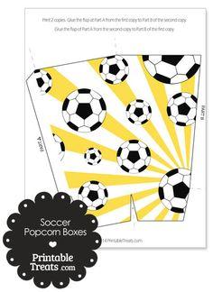 Yellow Sunburst Soccer Popcorn Boxes from PrintableTreats.com