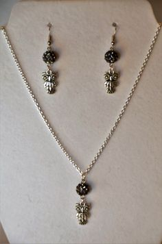 Handmade Owl  Necklace with Earring Set ~ Owl Lovers ~  Gothic by DivinityBraid on Etsy